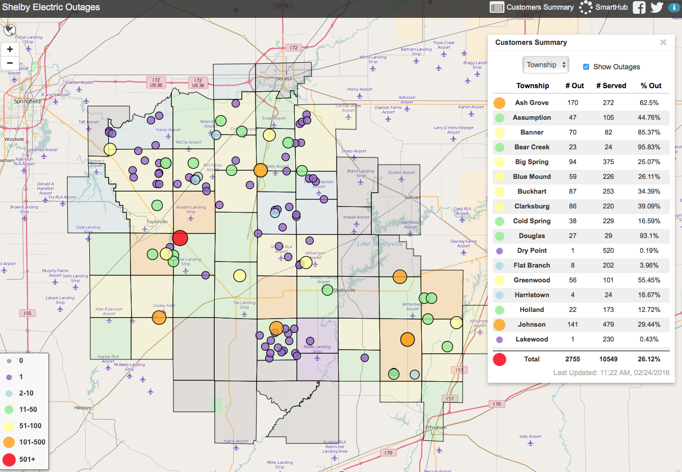 Shelby Electric Cooperative Reporting Power Outages